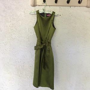 ISAAC MIZRAHI olive green formal dress